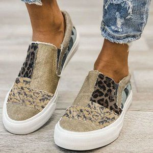 POPULAR Khaki Leopard Print Slip on Sneakers